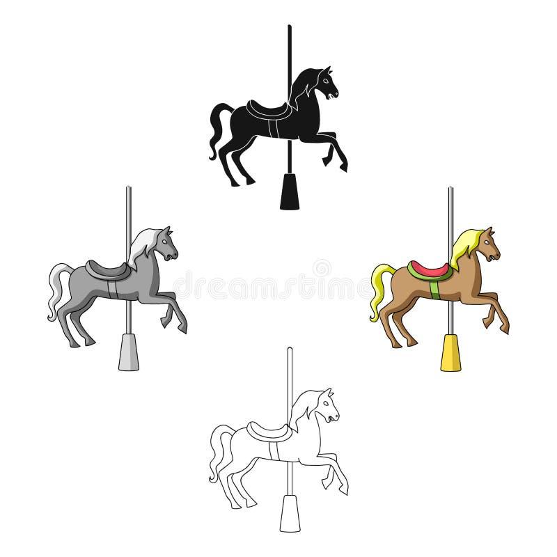 Carrousel voor kinderen Paard op de pool voor het berijden Pretpark enig pictogram in beeldverhaal, zwart stijl vectorsymbool vector illustratie
