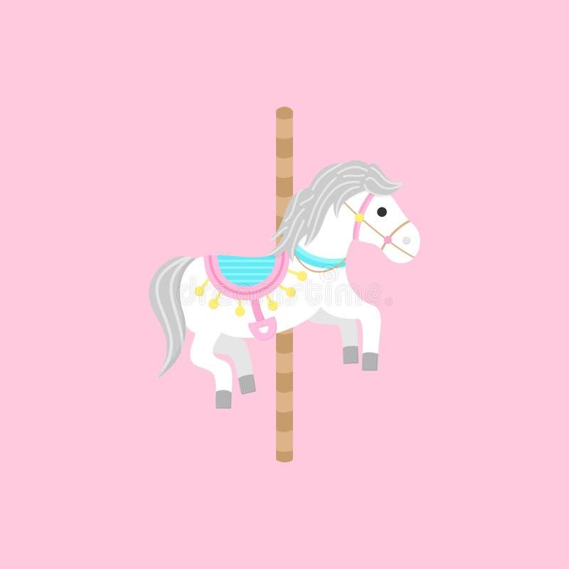 Carrousel wit paard op poolvector vector illustratie