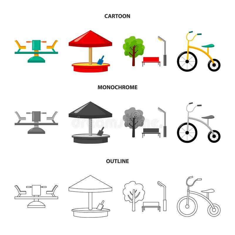 Carrousel, zandbak, park, met drie wielen Pictogrammen van de speelplaats de vastgestelde inzameling in beeldverhaal, overzicht,  vector illustratie