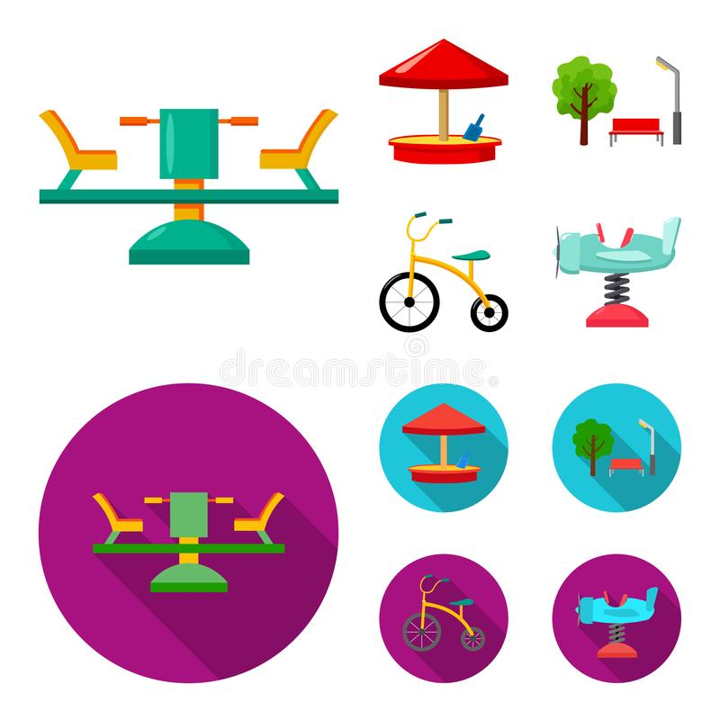 Carrousel, zandbak, park, met drie wielen Pictogrammen van de speelplaats de vastgestelde inzameling in beeldverhaal, de vlakke v stock illustratie