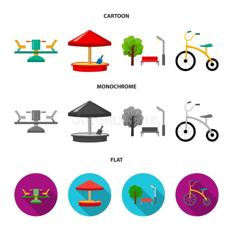 Carrousel, zandbak, park, met drie wielen Pictogrammen van de speelplaats de vastgestelde inzameling in beeldverhaal, de vlakke,  stock illustratie