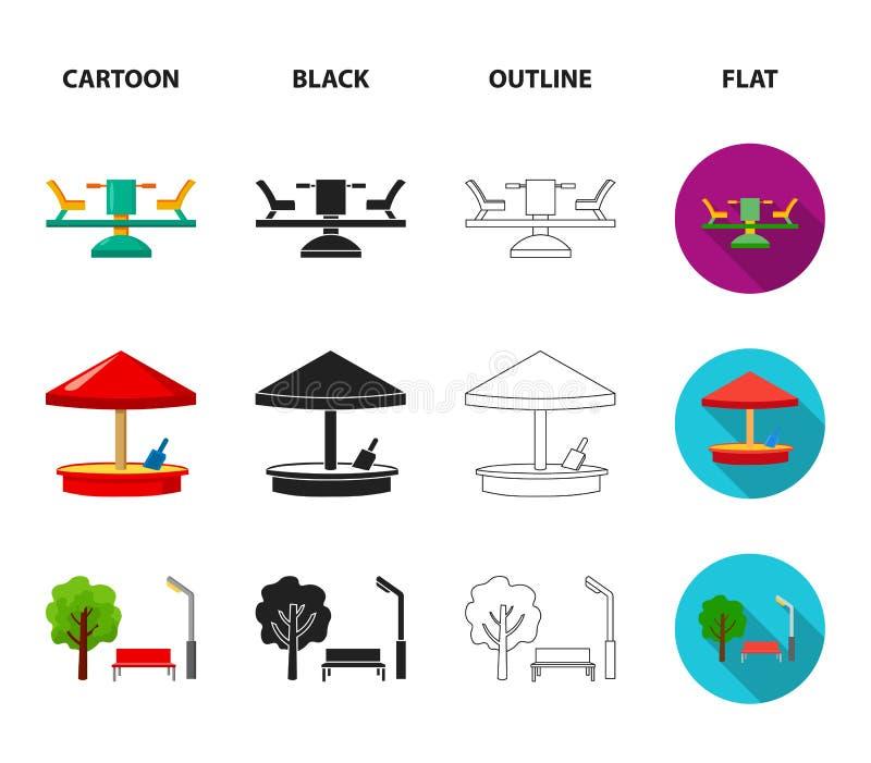 Carrousel, zandbak, park, met drie wielen Pictogrammen van de speelplaats de vastgestelde inzameling in beeldverhaal, zwarte, ove vector illustratie