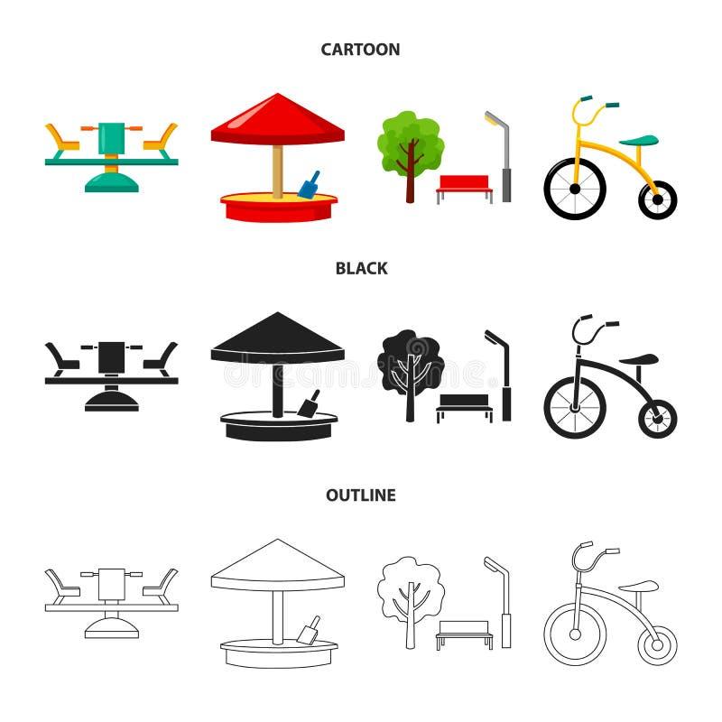 Carrousel, zandbak, park, met drie wielen Pictogrammen van de speelplaats de vastgestelde inzameling in beeldverhaal, zwarte, vec royalty-vrije illustratie