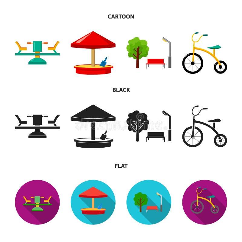 Carrousel, zandbak, park, met drie wielen Pictogrammen van de speelplaats de vastgestelde inzameling in beeldverhaal, de zwarte,  royalty-vrije illustratie