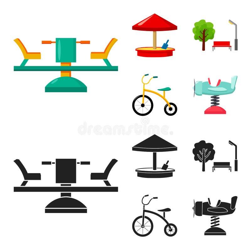 Carrousel, zandbak, park, met drie wielen Pictogrammen van de speelplaats de vastgestelde inzameling in beeldverhaal, de zwarte v vector illustratie