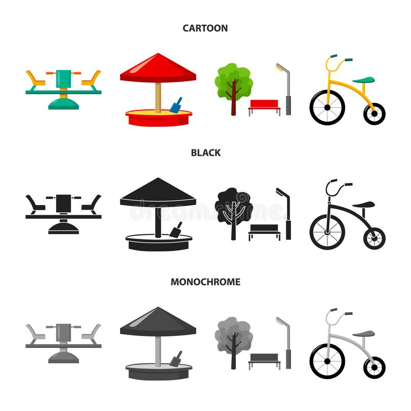 Carrousel, zandbak, park, met drie wielen Pictogrammen van de speelplaats de vastgestelde inzameling in beeldverhaal, de zwarte,  stock illustratie