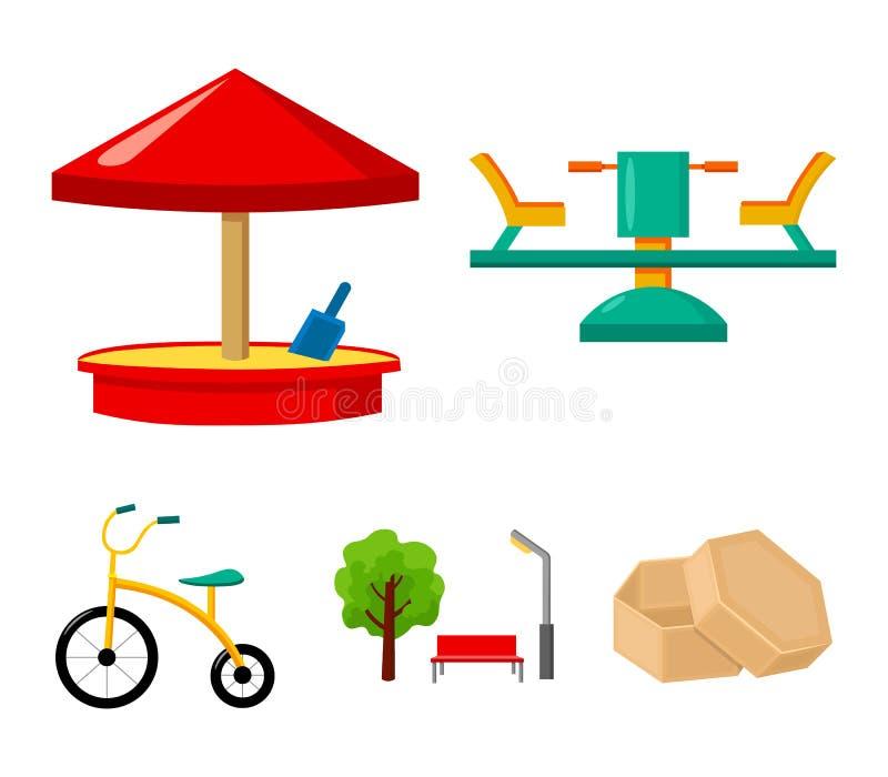 Carrousel, zandbak, park, met drie wielen Pictogrammen van de speelplaats de vastgestelde inzameling in van de het symboolvoorraa royalty-vrije illustratie