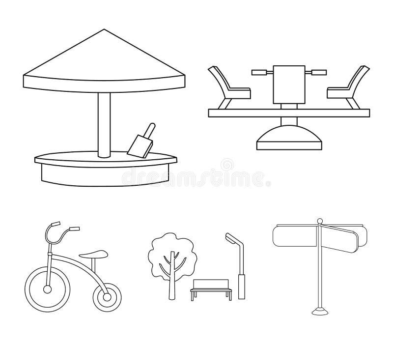 Carrousel, zandbak, park, met drie wielen Pictogrammen van de speelplaats de vastgestelde inzameling in van de het symboolvoorraa stock illustratie