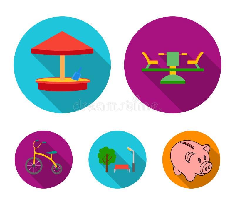 Carrousel, zandbak, park, met drie wielen Pictogrammen van de speelplaats de vastgestelde inzameling in het vlakke Web van de de  vector illustratie