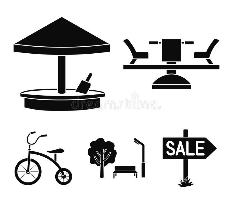 Carrousel, zandbak, park, met drie wielen Pictogrammen van de speelplaats de vastgestelde inzameling in het zwarte Web van de de  vector illustratie