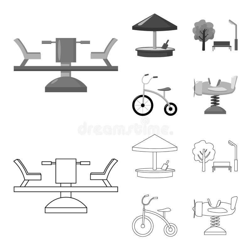 Carrousel, zandbak, park, met drie wielen Pictogrammen van de speelplaats de vastgestelde inzameling in overzicht, de zwart-wit v vector illustratie