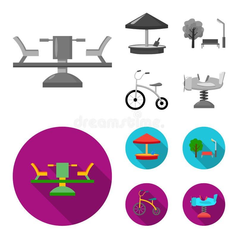 Carrousel, zandbak, park, met drie wielen Pictogrammen van de speelplaats de vastgestelde inzameling in de zwart-wit, vlakke voor vector illustratie