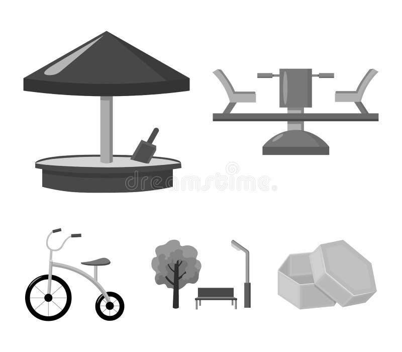 Carrousel, zandbak, park, met drie wielen Pictogrammen van de speelplaats de vastgestelde inzameling in zwart-wit de voorraadillu vector illustratie
