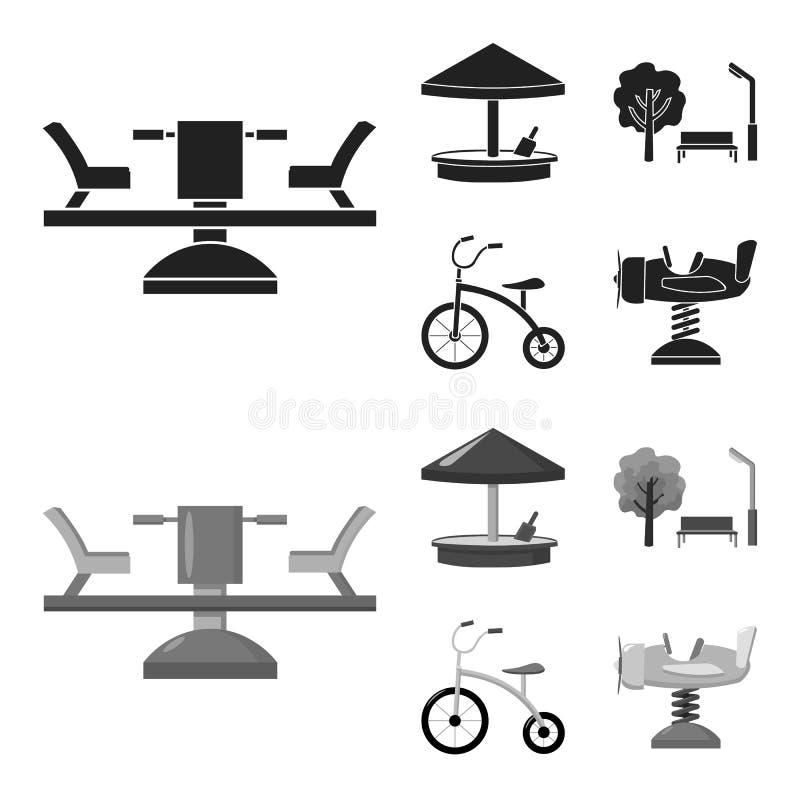 Carrousel, zandbak, park, met drie wielen Pictogrammen van de speelplaats de vastgestelde inzameling in zwarte, monochrom voorraa vector illustratie