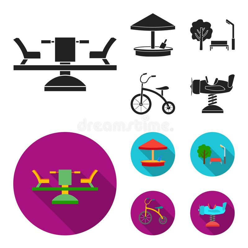Carrousel, zandbak, park, met drie wielen Pictogrammen van de speelplaats de vastgestelde inzameling in zwarte, vlakke de voorraa vector illustratie