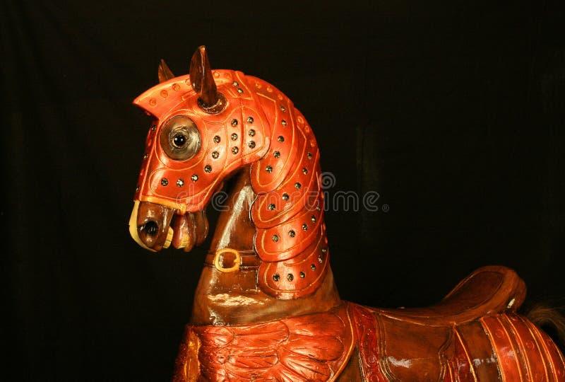 Carrouselpaard, realistisch houten paard, hobbelpaard stock foto's