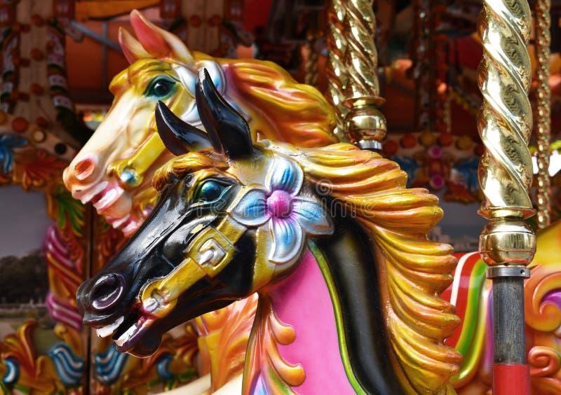 Carrouselpaarden, Traditioneel, Uitstekend Ontwerp stock foto's