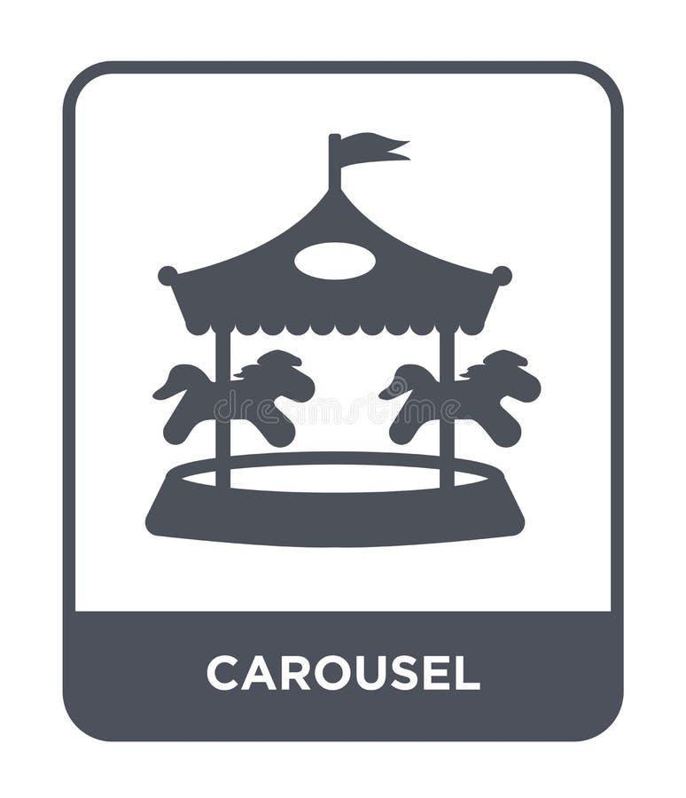 carrouselpictogram in in ontwerpstijl Carrouselpictogram op witte achtergrond wordt geïsoleerd die eenvoudige en moderne vlakte v royalty-vrije illustratie