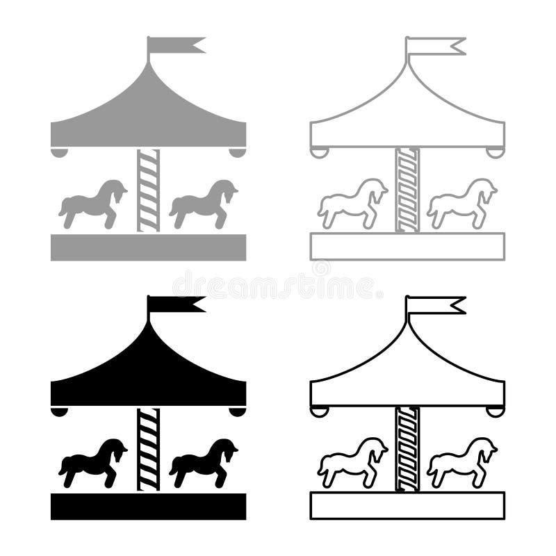 Carrouselrotonde vrolijk-gaan-om Wijnoogst vrolijk-gaan-om beeld van de de illustratie vlakke stijl van de pictogram het vastgest royalty-vrije illustratie
