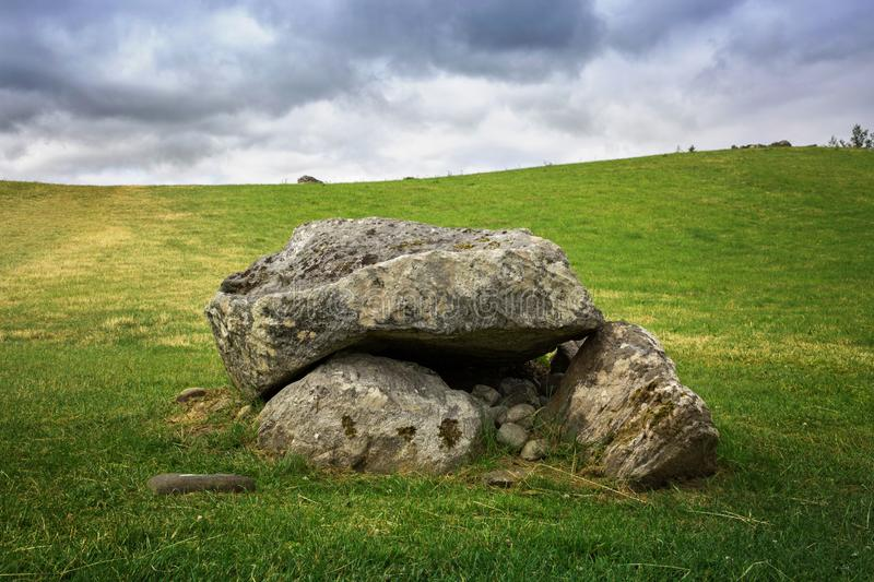 Carrowmore megalithic cemetery. In Ireland stock photo