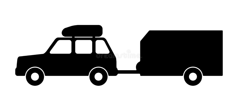 Carrozza ferroviaria con un rimorchio illustrazione vettoriale