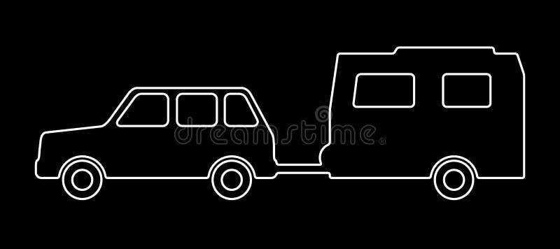 Carrozza ferroviaria con un rimorchio illustrazione di stock
