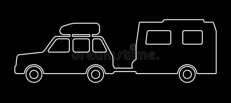 Carrozza ferroviaria con un rimorchio royalty illustrazione gratis
