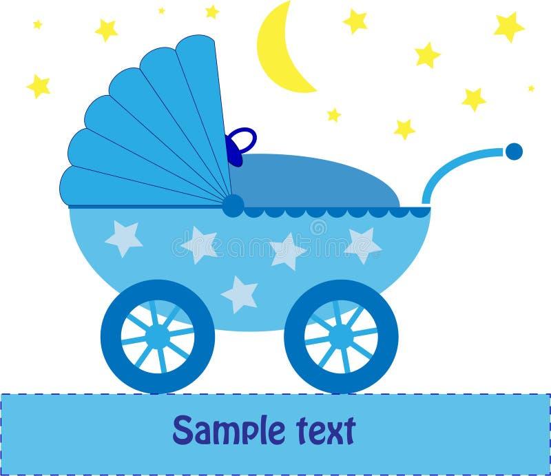 Carrozzina del bambino blu alla notte illustrazione vettoriale