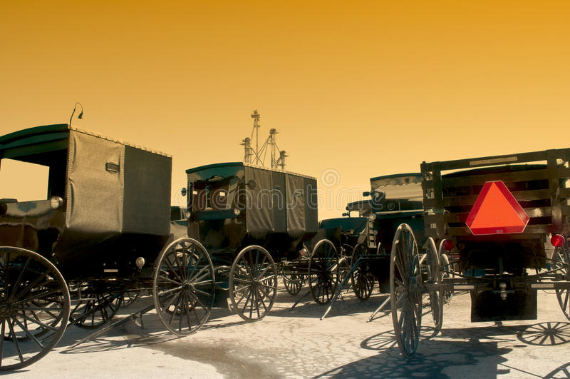 Carrozzini dei Amish fotografie stock