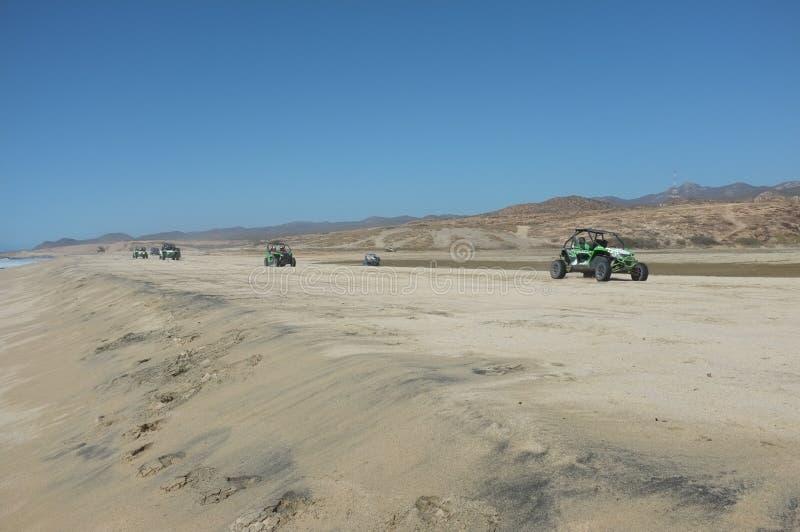 Carrozzini di duna sulla spiaggia fotografia stock