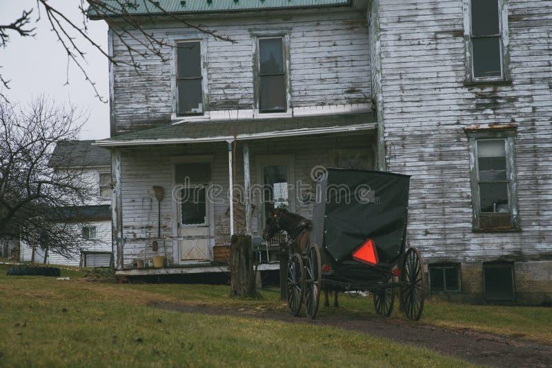 Carrozzino di Amish vicino ad una casa in Pensilvania fotografia stock