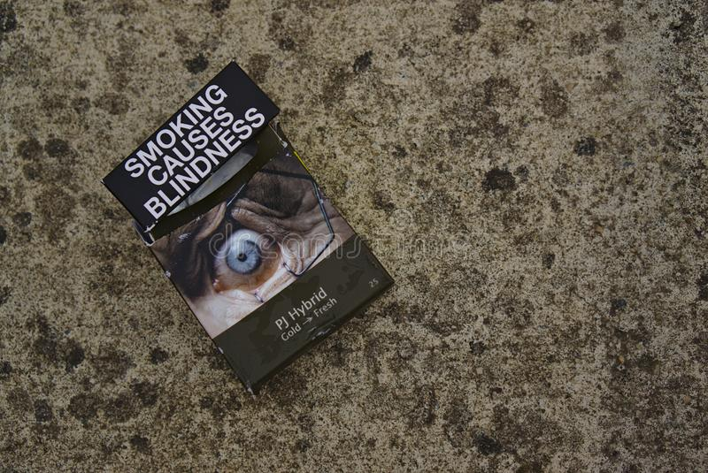 Australian Cigarette Pack Smoking Causes Blindness royalty free stock photo