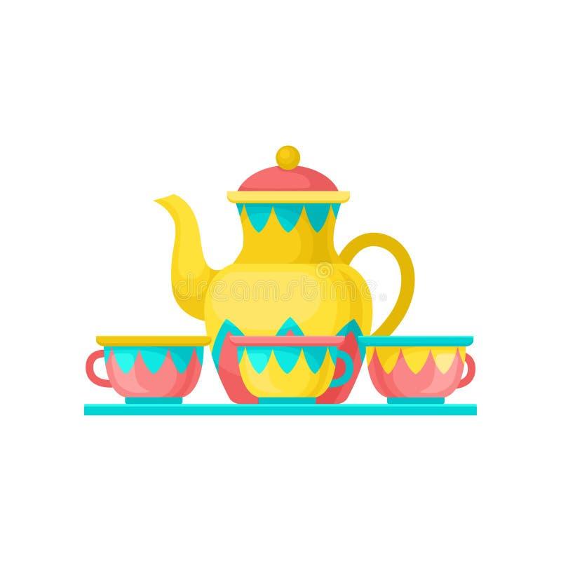 Carrusel con las tazas del coffe, ejemplo del carnaval del vector del elemento del parque de atracciones aislado en un fondo blan ilustración del vector