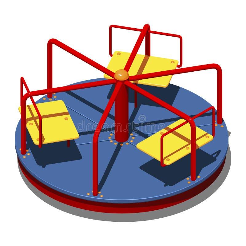 Carrusel con seis asientos, ejemplo isométrico del ` s de los niños del vector en el fondo blanco libre illustration