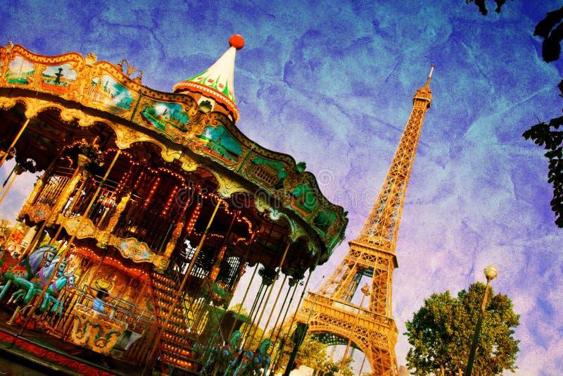 Carrusel de la torre Eiffel y del vintage, París, Francia ilustración del vector