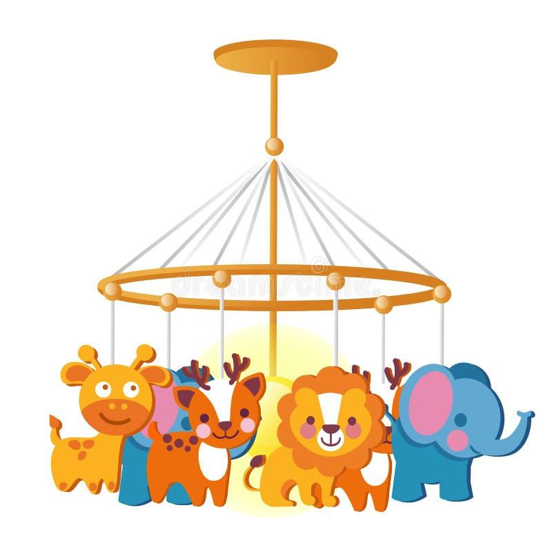 Carrusel del bebé con los juguetes de la ejecución aislados en el fondo blanco Ejemplo del primer de la historieta del vector stock de ilustración