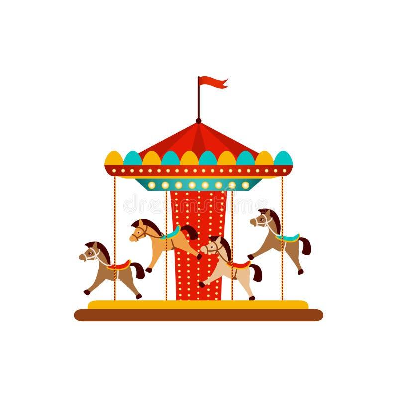 Carrusel del caballo del vector, objetos del parque de atracciones libre illustration