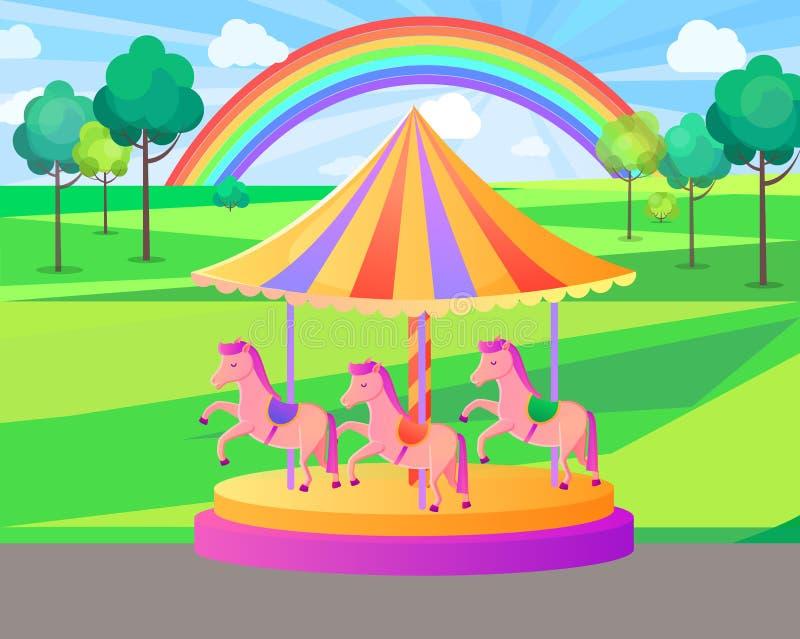 Carrusel del parque de atracciones con el arco iris, vector de la naturaleza ilustración del vector