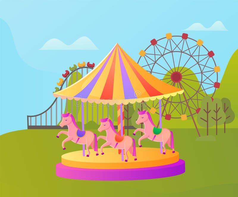 Carrusel del parque de atracciones con el potro, entretenimiento stock de ilustración