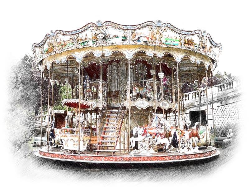 Carrusel, tiovivo en París Ejemplo en el drenaje, bosquejo ilustración del vector