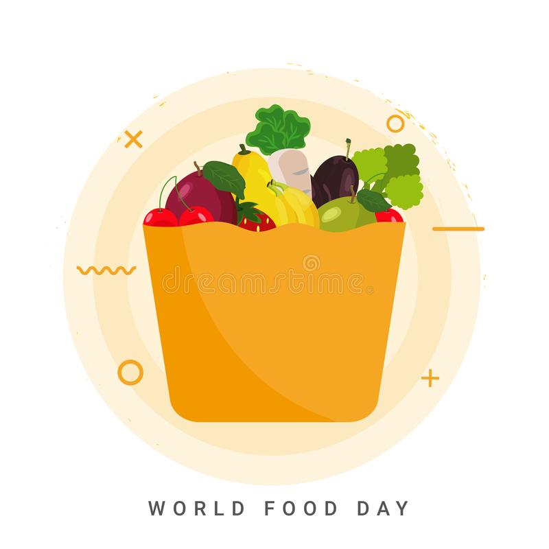 Carry bag full of fruits and vegetables on abstract background for World Food Day. stock illustration