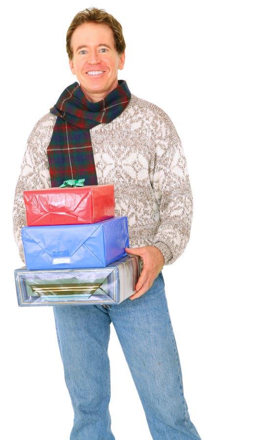 carry caucasian happy isolated man presents senior στοκ φωτογραφία με δικαίωμα ελεύθερης χρήσης