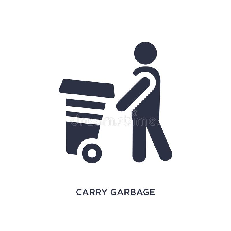Carry garbage icon on white background. Simple element illustration from behavior concept. Carry garbage isolated icon. Simple element illustration from behavior royalty free illustration
