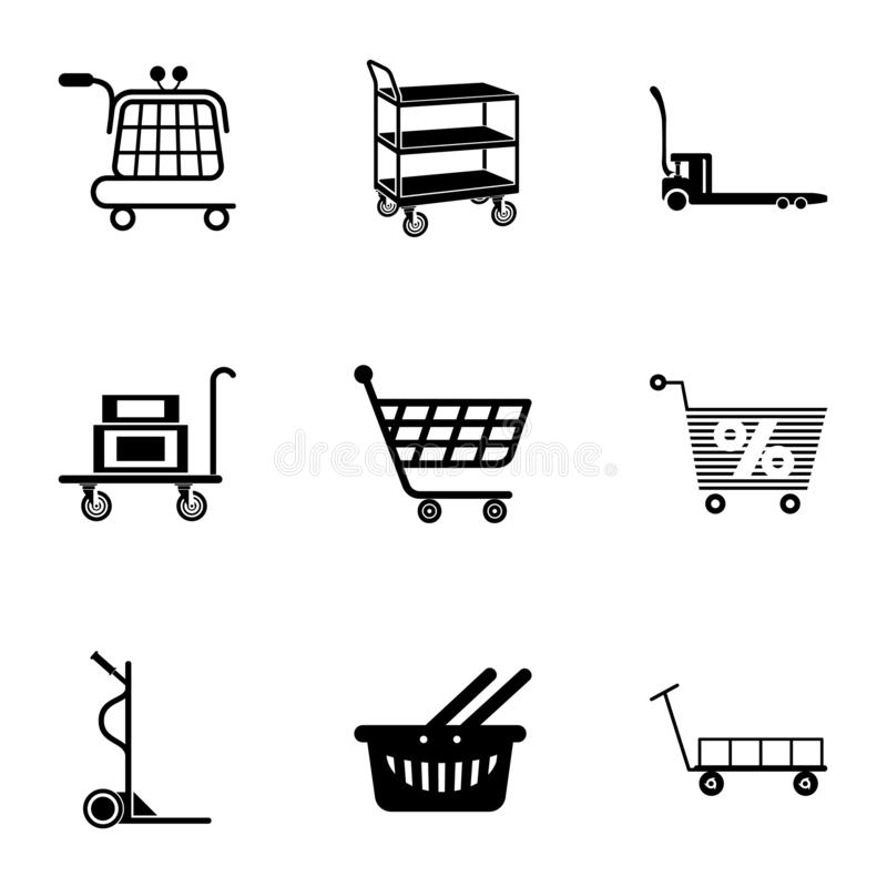Carry the goods icons set, simple style. Carry the goods icons set. Simple set of 9 carry the goods vector icons for web isolated on white background vector illustration
