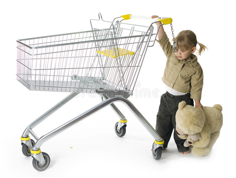 Carrying Bear Little Girl Leads Shop Trolley Royalty Free Stock Photo