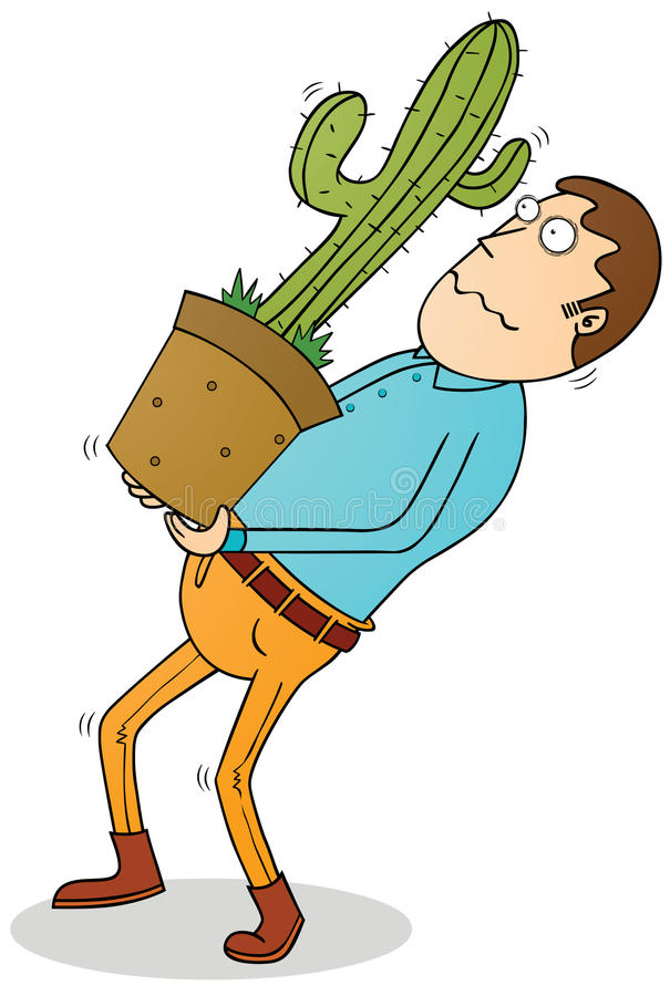 Carrying cactus stock illustration