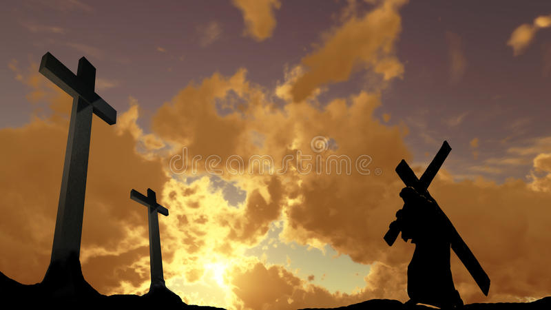 Carrying the Cross. The figure of Christ carrying the cross up Calvary on Good Friday. The sky is dark and stormy stock illustration