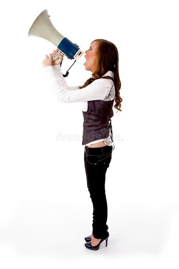 carrying female loudspeaker side view στοκ εικόνες