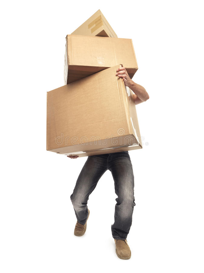 Carrying and lifting boxes - Stock Image royalty free stock images