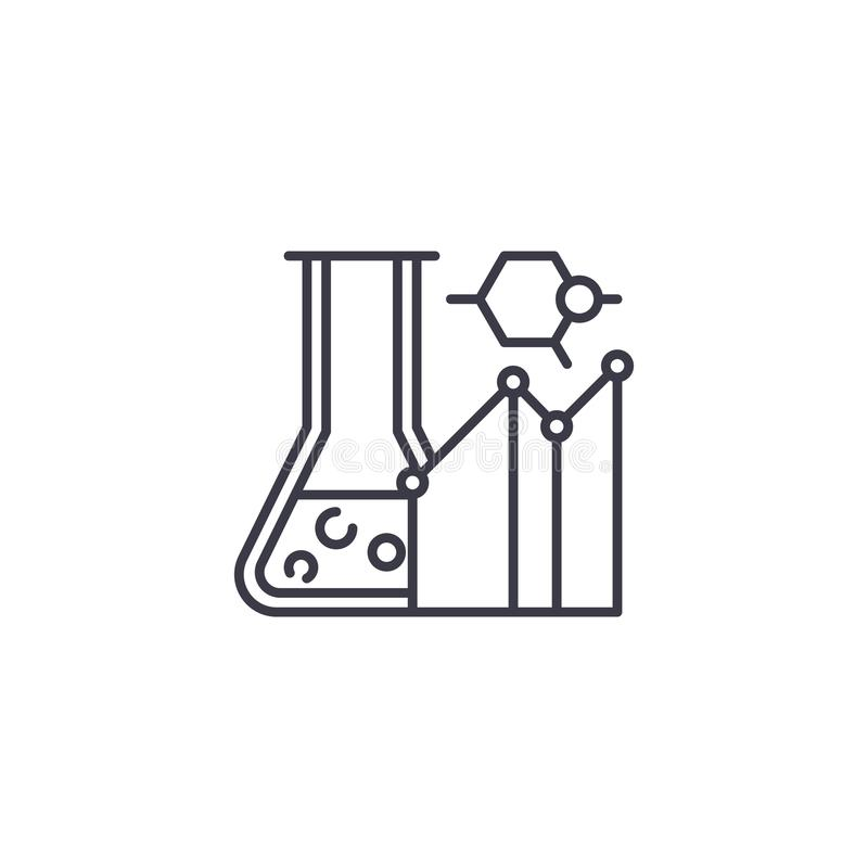 Carrying out a study linear icon concept. Carrying out a study line vector sign, symbol, illustration. royalty free illustration